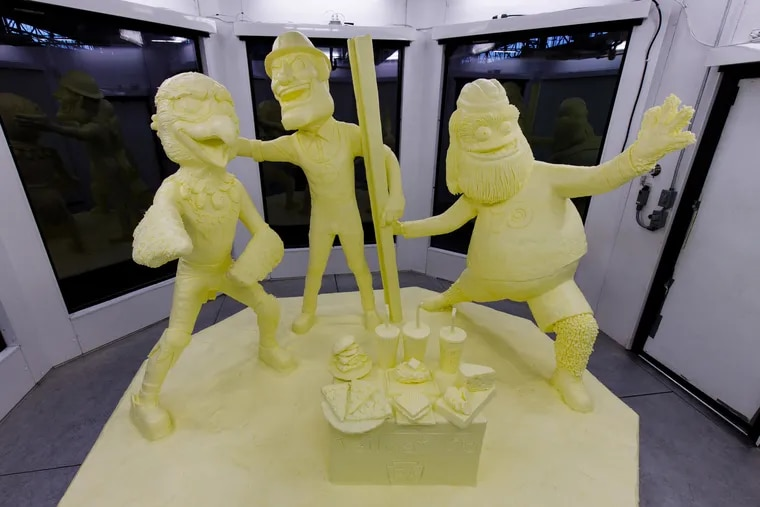 The 2020 Pennsylvania Farm Show Butter Sculpture. This year's sculpture, fashioned from half a ton of donated butter, features Gritty and also Eagles mascot Swoop and Steely McBeam (Pittsburgh Steelers).