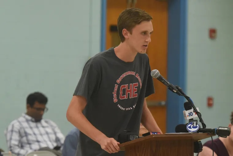 """Oliver Adler, student body president at Cherry Hill High School East, told the school board that a tuna fish policy would become a """"badge of shame"""" for students who get an alternate meal because their parents have unpaid meal fees."""