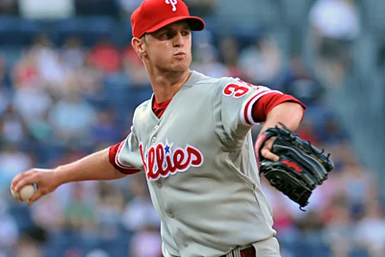 Starter Kyle Kendrick kept the Phils in the game, although he lasted just 5 1/3 innings.  (Getty Images)