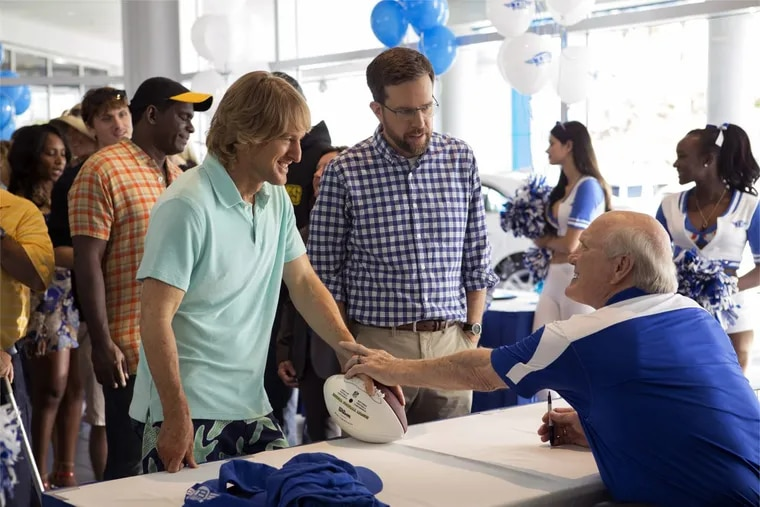 """From left, Owen Wilson as Kyle Reynolds, Ed Helms as Peter Reynolds and Terry Bradshaw as Terry Bradshaw in the film, """"Father Figures."""""""