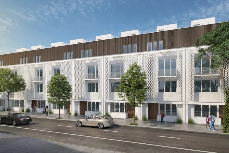 Artist's rendering of townhomes planned on 2000 block of Lombard Street in Center City.