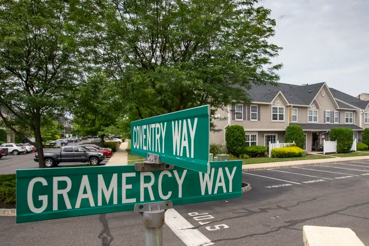 Street signs near the Essex Place condominiums in Mount Laurel, N.J.