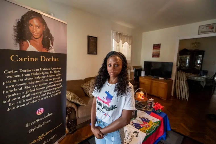 Carine Dorlus poses for a photo at her home on Tuesday, August 17, 2021. Dorlus, founded Philadelphia for Haiti and is working to help victims of the earthquake.