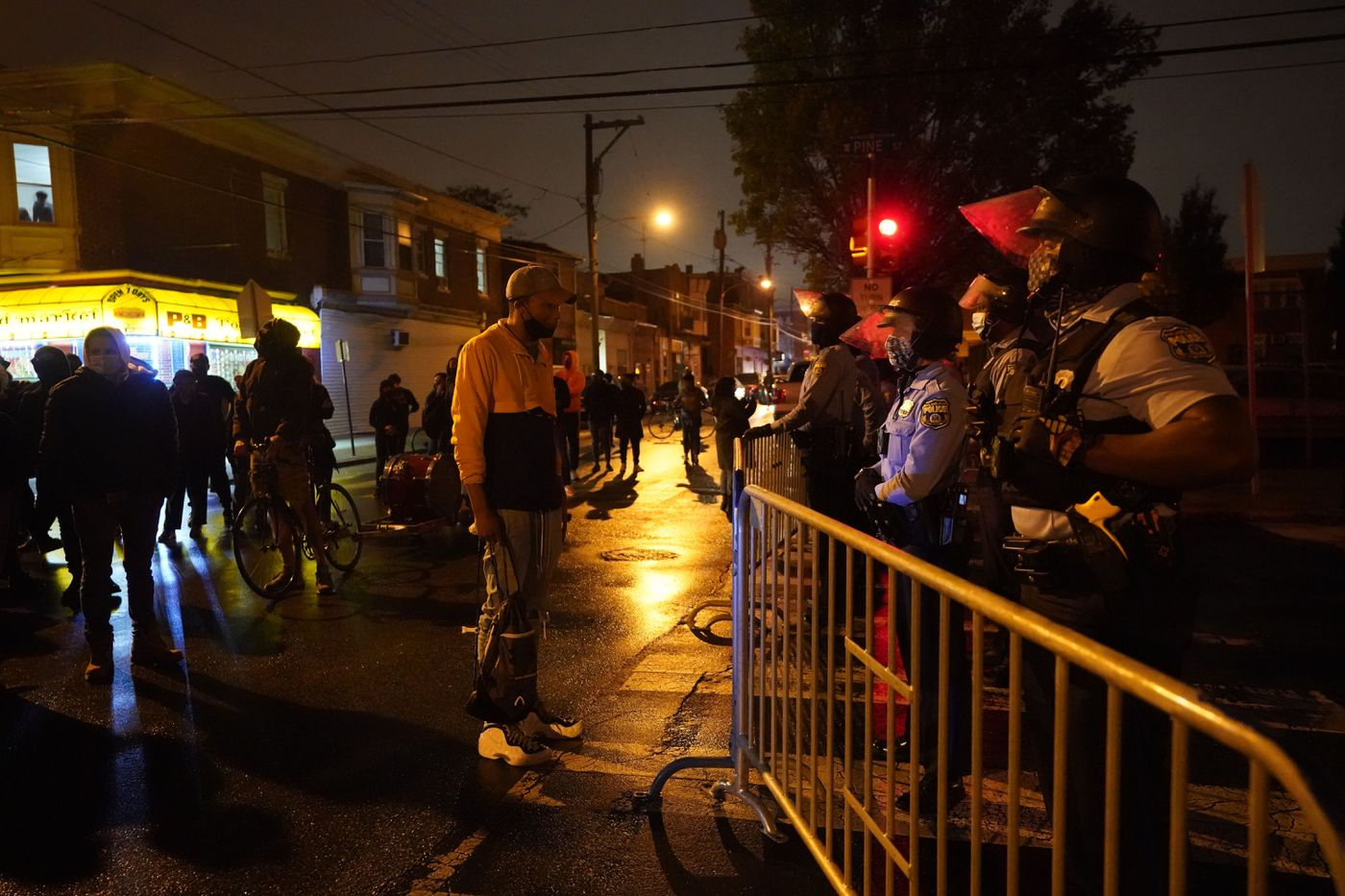Protest in response to the police shooting of Walter Wallace Jr. on Monday after police officers fatally shot the 27-year-old Black man in West Philadelphia.