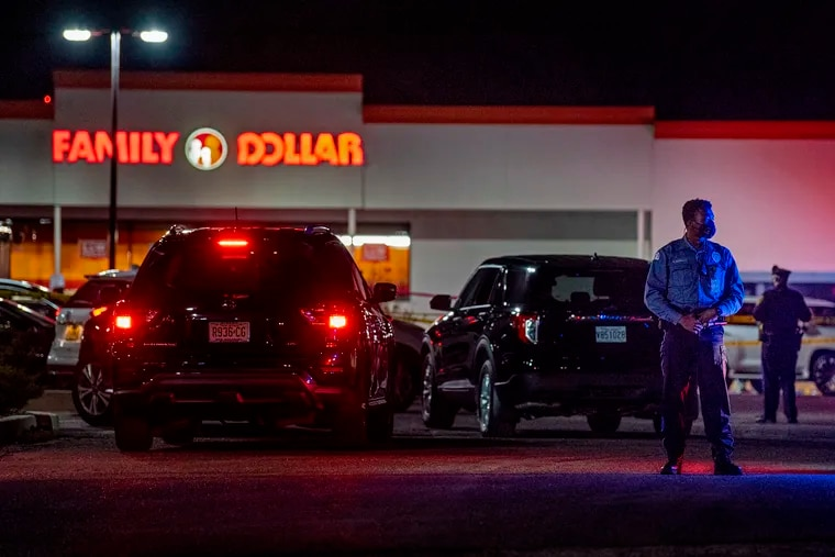 Police were on the scene of a fatal shooting outside the Family Dollar store on the Black Horse Pike in Gloucester Township on Thursday. One person was pronounced dead shortly afterward.