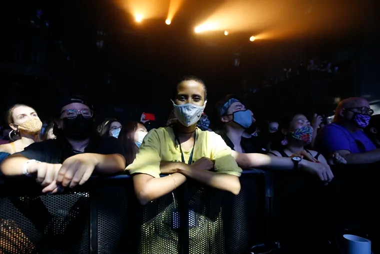 A masked fan watches Japanese Breakfast perform at the Union Transfer on Aug. 6.