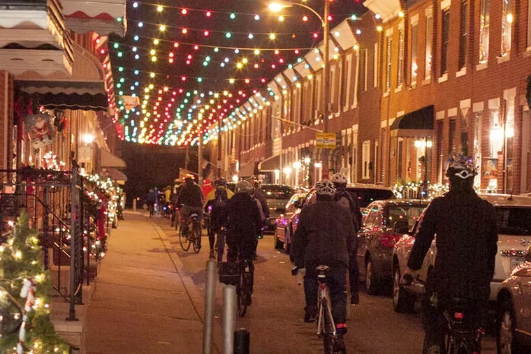 Holiday lights and atmosphere from last year's Holiday Lights Ride.
