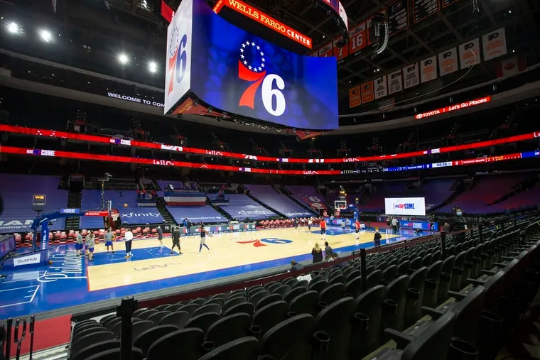 The stands at the Wells Fargo Center have been empty so far this season.