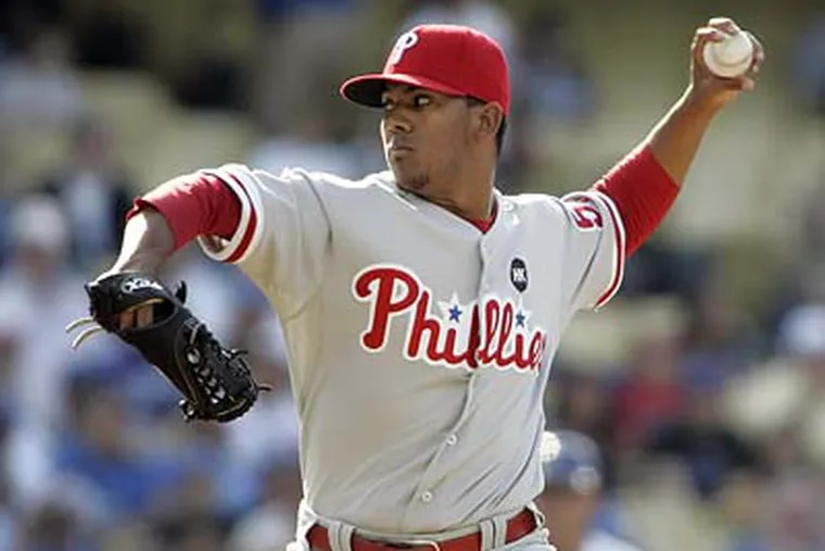 Antonio Bastardo allowed two runs on seven hits and struck out four batters in his second start for the Phillies. (Lori Shepler/AP)