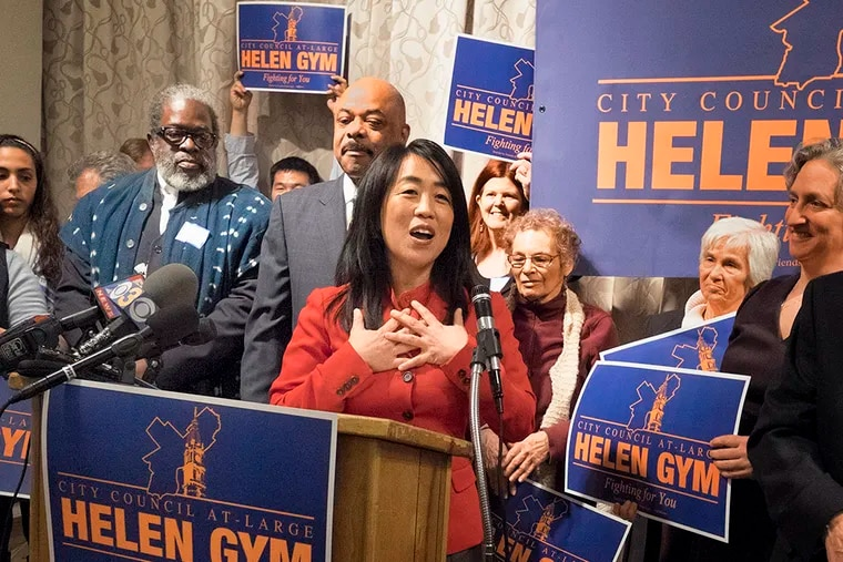 Nationally recognized public education champion Helen Gym officially declared her candidacy for City Council At-Large Monday afternoon at the Ethical Society Monday, February 9, 2015. ( ED HILLE / Staff Photographer )