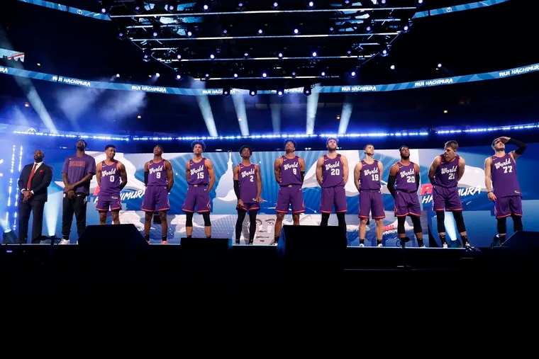 The World Team is introduced at the NBA Rising Stars basketball game in Chicago on Friday.