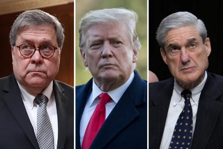 (From left to right) Attorney General William Barr, President Donald Trump and Special Counsel Robert Mueller.