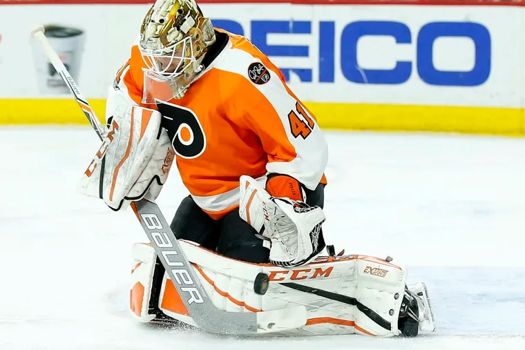 The Flyers' Anthony Stolarz, 24, is trying to establish himself as an NHL goalie.