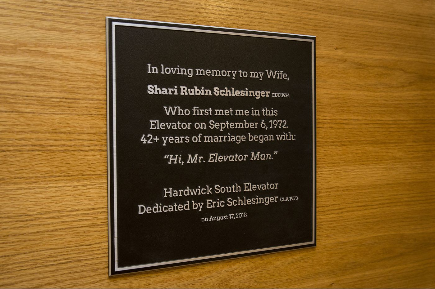 Love started in an elevator for two Temple alums; 46 years later, a plaque commemorating their love has gone up