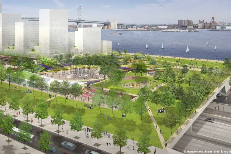 Rendering of a proposed waterfront park for the Delaware Waterfront.