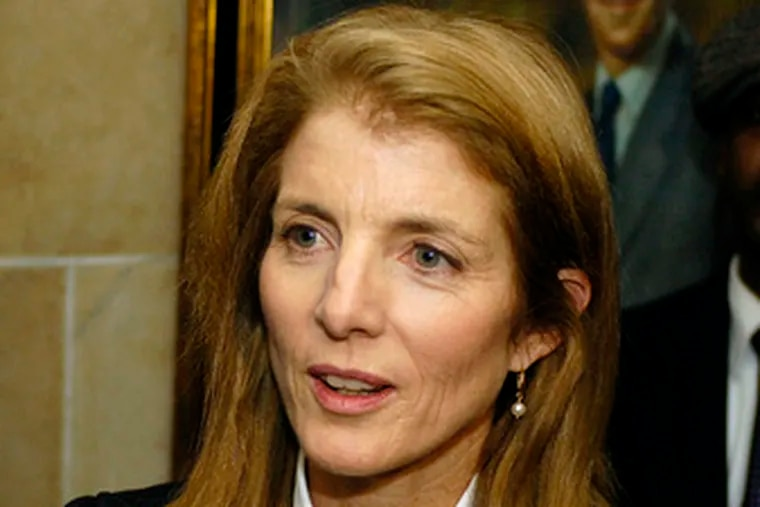 Caroline Kennedy talking with reporters in Buffalo duringher upstate tour last week.