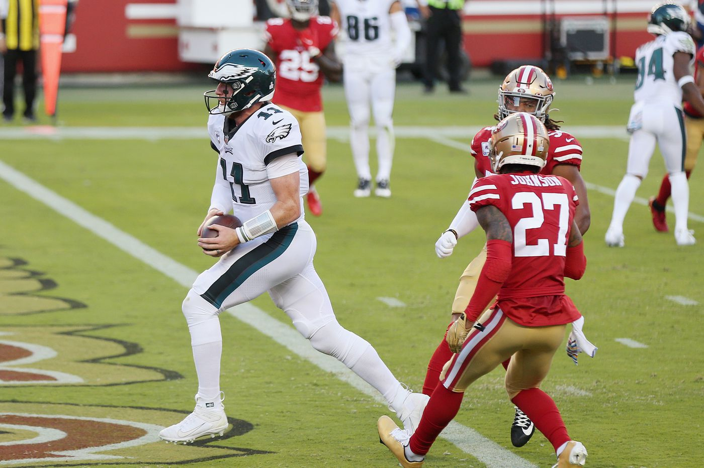 Carson Wentz Plays Within Himself And Philadelphia Eagles Beat San Francisco 49ers Jeff Mclane