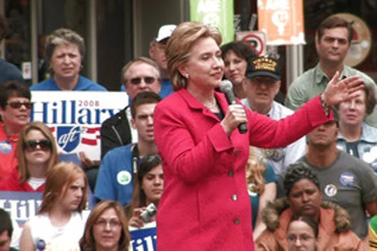 """Sen. Hillary Clinton at a rally yesterday in Pittsburgh. She reinforced her central message that she would be """"ready from day one."""""""