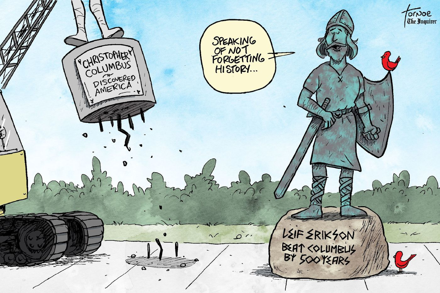 Cartoon: With Christopher Columbus statues under scrutiny, let's give Leif Erikson his due