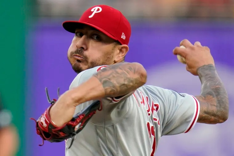 Phillies starter Vince Velasquez delivers during the first inning of Friday's shutout loss to the Pirates.