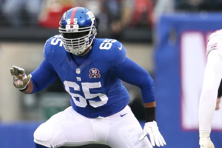 New York Giants offensive lineman Will Beatty (65) in action against the San Francisco 49ers at Met Life Stadium in East Rutherford, New Jersey November 16, 2014. (AP Photo/Damian Strohmeyer)