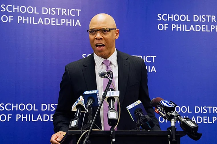 Philadelphia Superintendent Dr. William R. Hite speaks at a press conference to discuss the proposed operating budget for fiscal year 2015 at the School District of Philadelphia's headquarters on April 25, 2014. (RACHEL WISNIEWSKI / Staff Photographer)