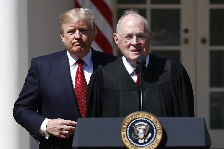 President Trump, left, and Supreme Court Justice Anthony Kennedy participate in a public swearing-in ceremony for Justice Neil Gorsuch at the White House in 2017. The 81-year-old Kennedy said Tuesday that he is retiring after more than 30 years on the court, giving Trump the chance to nominate another justice.