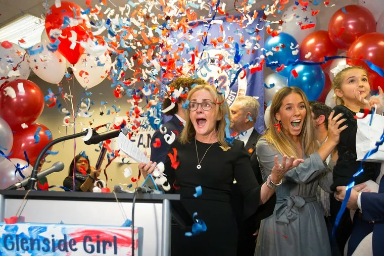 Democrat Madeleine Dean celebrates after winning the Pennsylvania's Fourth Congressional District race at the Operating Engineers Headquarters in Fort Washington on Nov. 6, 2018.