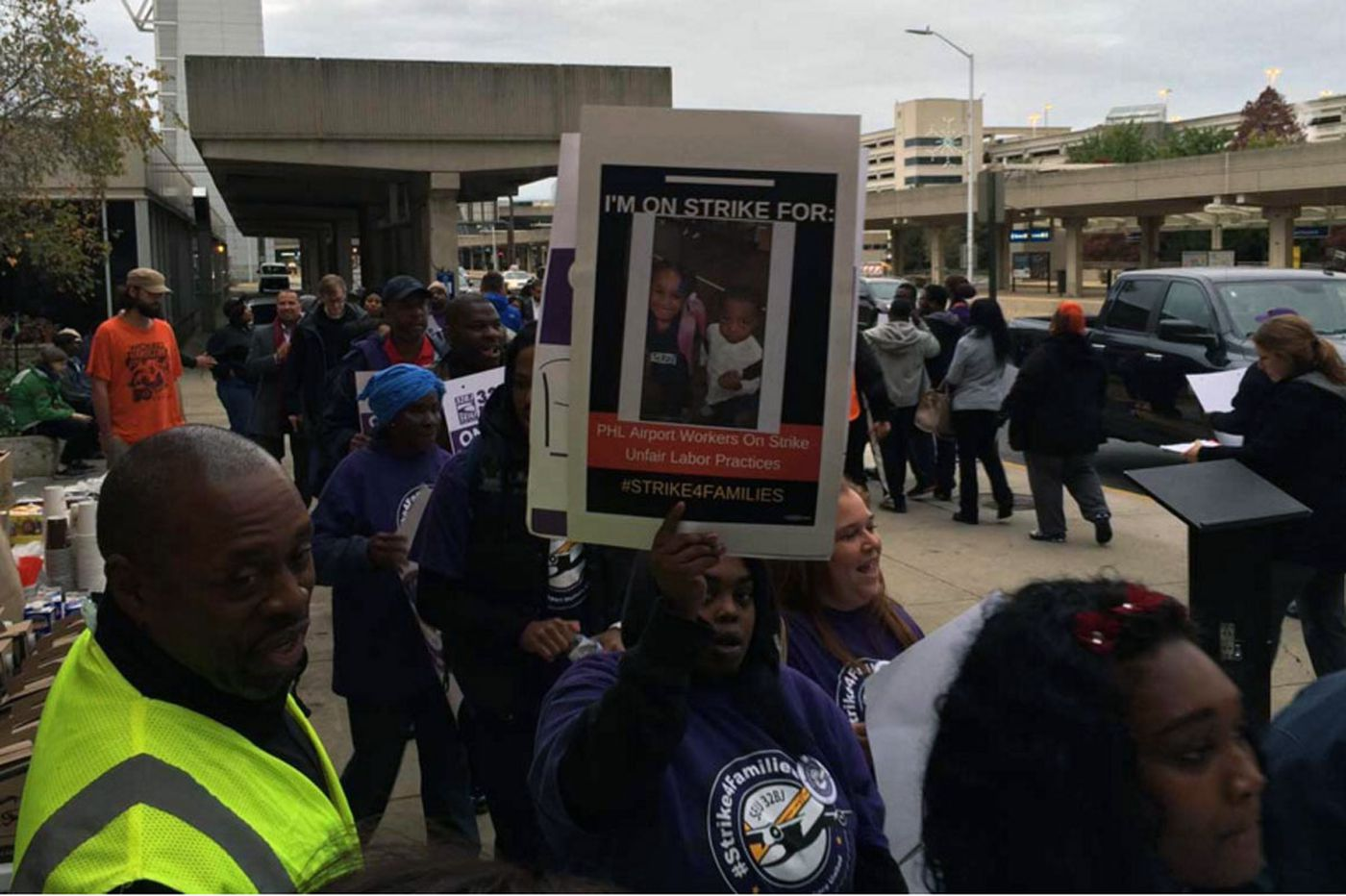 Airport workers protest for better pay, work rules
