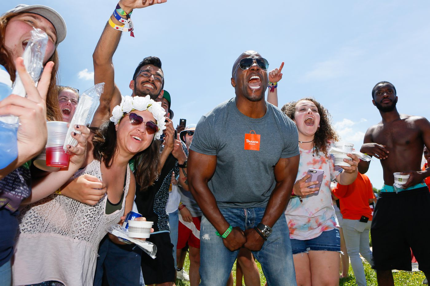 Terry Crews participates in a cheesy promotion at Firefly Music Festival this weekend