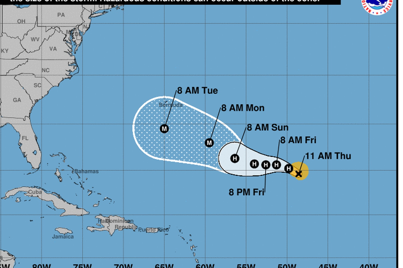 Tropical storm could cause life-threatening surf along East Coast