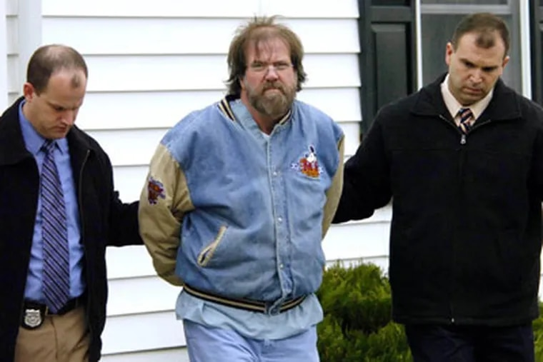 Earl Bradley is escorted into court in Georgetown, Del. He practiced at Knights and Red Lion Roads in the Northeast before moving to Delaware in 1995, a Pennsylvania official said.