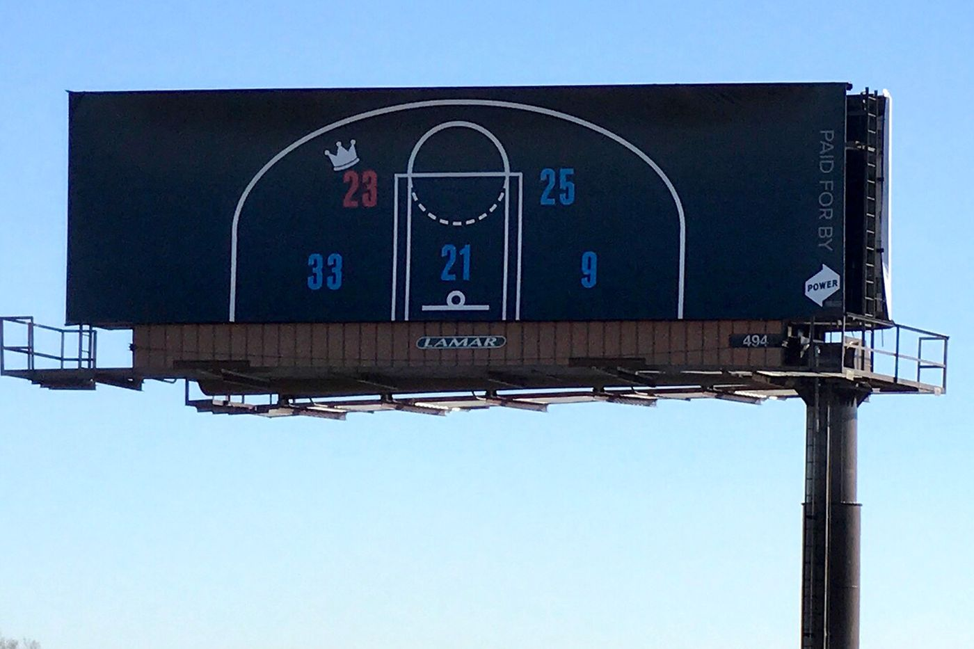 04be021e846 The first billboard places LeBron s  24 on the court next to the Sixers   starting