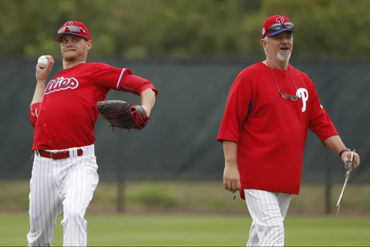 Rick Kranitz (right) was promoted from assistant pitching coach to the main job for 2018.