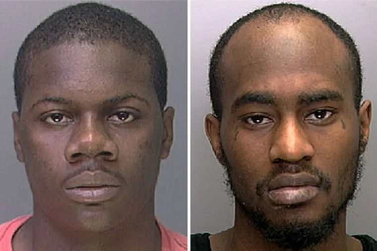 Chancier McFarland, left, and Rafael Jones, right, are accused in Officer Moses Walker Jr.'s death.