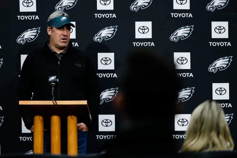 Eagles coach Doug Pederson at the podium during a past press conference.