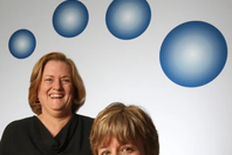 Successive, successful entrepreneurs Terri Sebree (left) and Jane Hollingsworth founded NuPathe Inc. of Conshohocken, which develops treatments and technologies for neurologic and psychiatric disorders.