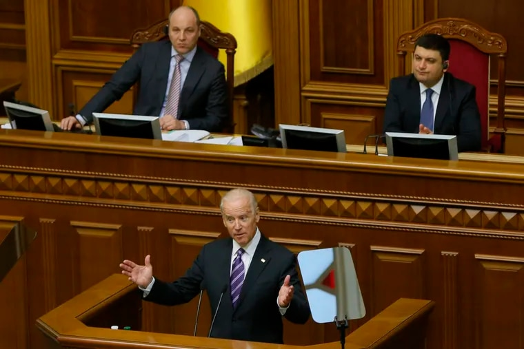 U.S. Vice President Joe Biden addresses the Ukraine Parliament in Kyiv, Ukraine on Dec. 8, 2015. Now Biden is facing scrutiny for his son's dealings in Ukraine.