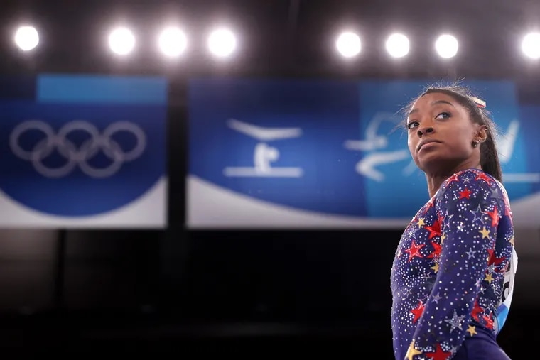Simone Biles of Team United States looks on during Women's Qualification on day two of the Tokyo 2020 Olympic Games at Ariake Gymnastics Centre on Sunday, July 25, 2021, in Tokyo, Japan.