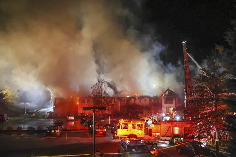 Fire fighters battle a 4-alarm blaze at the Barclay Friends Nursing Home in West Chester, Thursday, November 16, 2017.