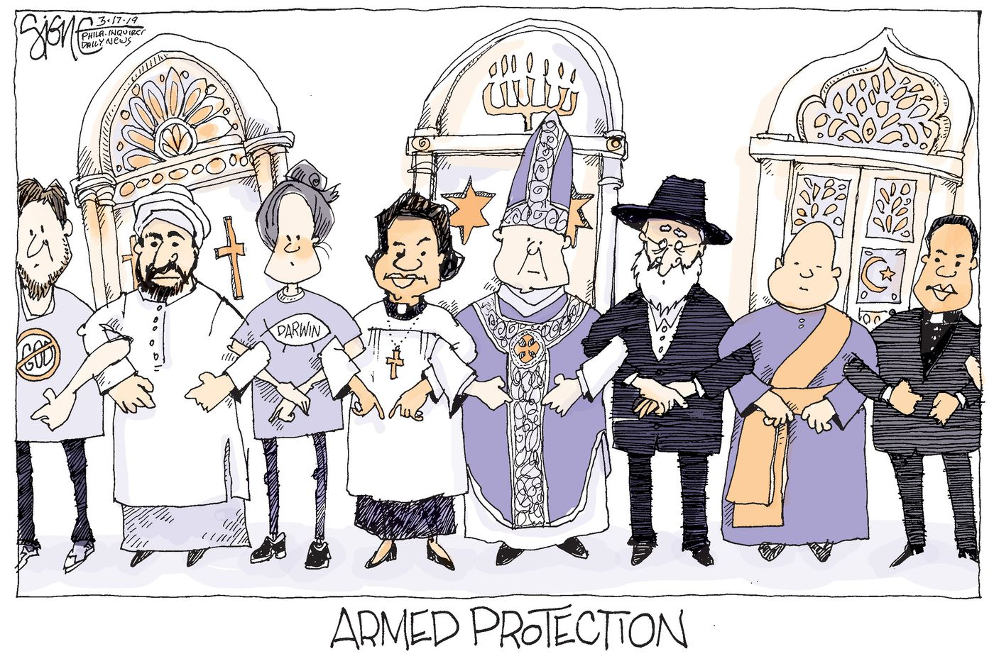 Political Cartoon: Armed Protection for houses of worship