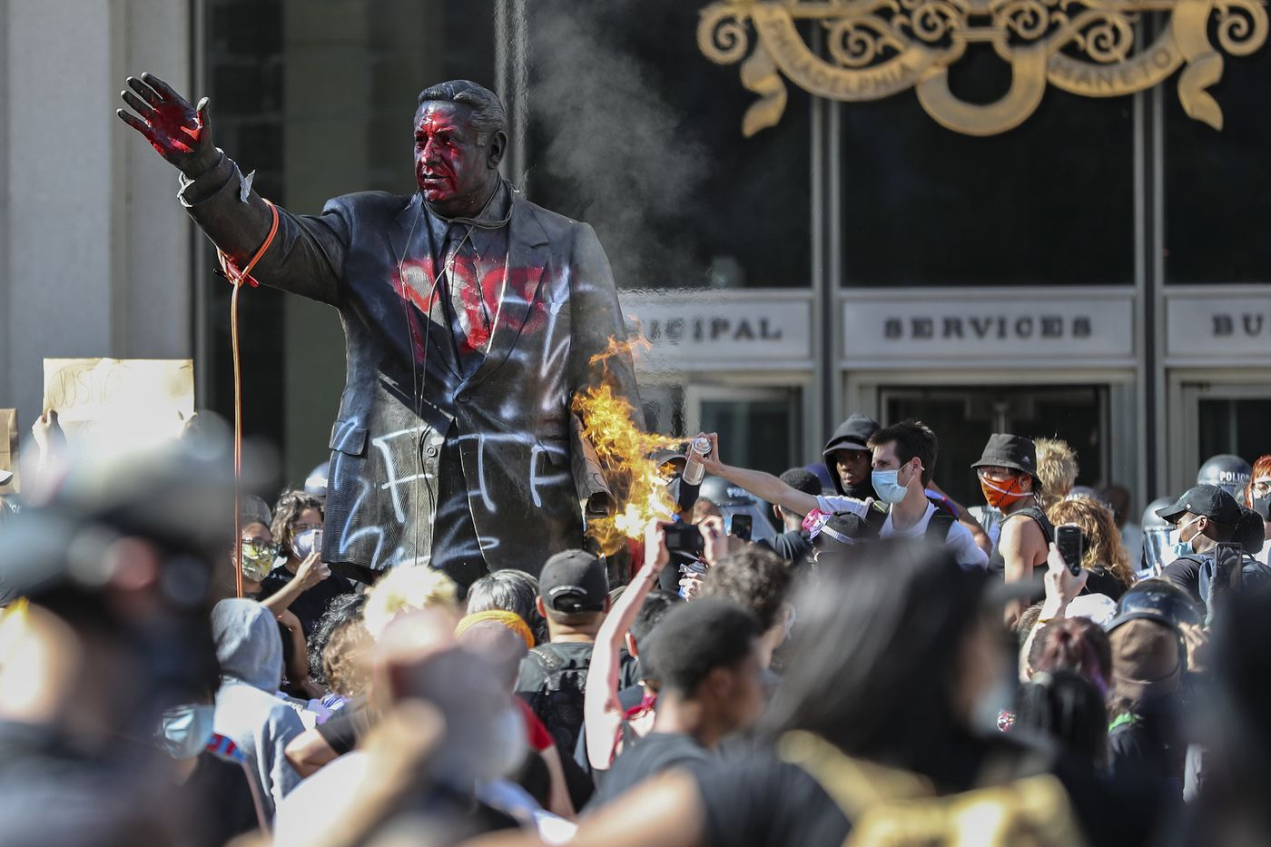 The statue of former mayor and police commissioner Frank Rizzo — for many a painful reminder of the city's history of policy brutality — was targeted, with demonstrators trying to topple it and set it on fire.
