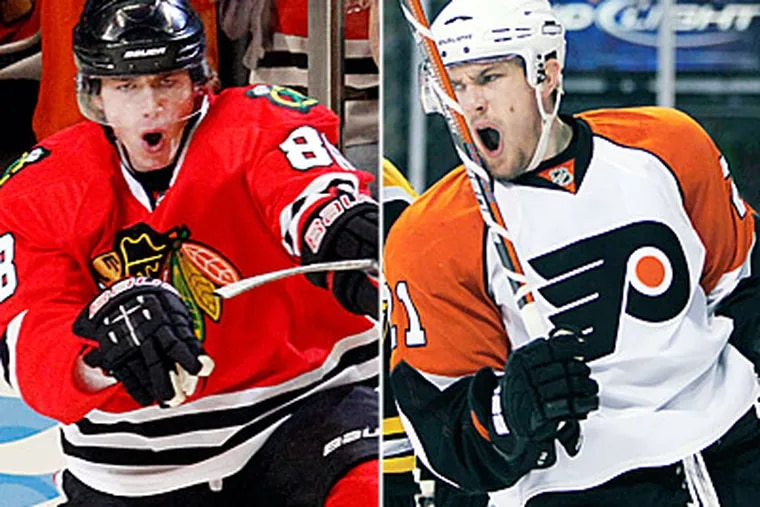Patrick Kane (left) and James van Riemsdyk were the first two picks in the 2007 NHL draft. (AP Photos)