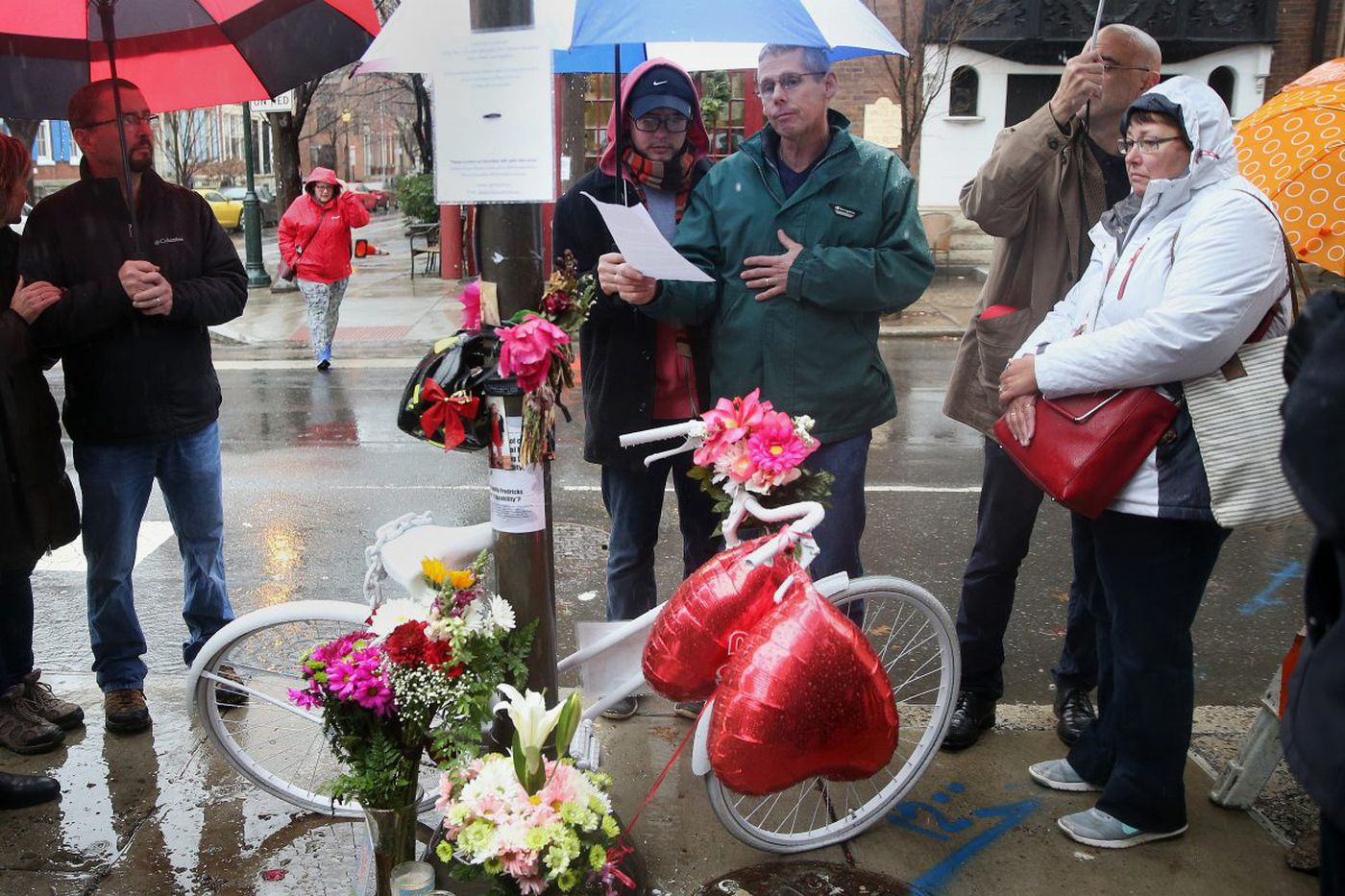 'Ghost bike' memorializes Philadelphia cyclist struck by trash truck