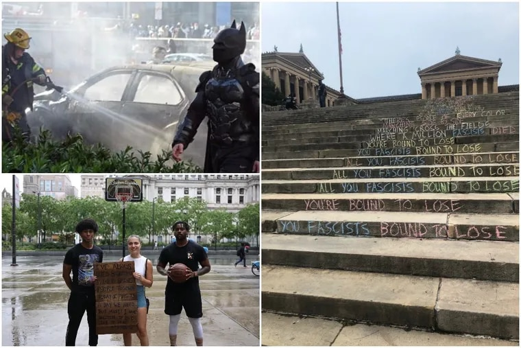 From Batman appearing at City Hall to Woody Guthrie lyrics written on the Philadelphia Museum of Art steps and a traveling basketball hoop, these are some of the most Philly moments of the Philadelphia protests.