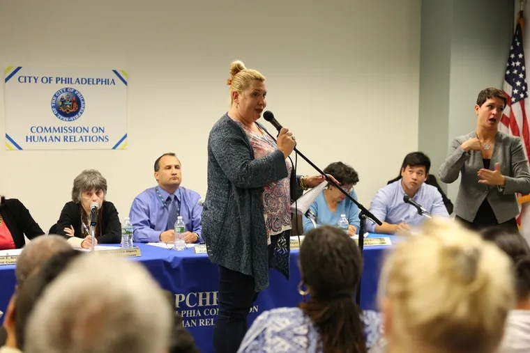 Deja Lynn Alvarez, Director of the Home for Hope, speaks at a public hearing about the LGBTQ community and on racism and discrimination held by the Philadelphia Commission on Human Relations on October 25, 2016 at 801 Arch St. in Philadelphia.