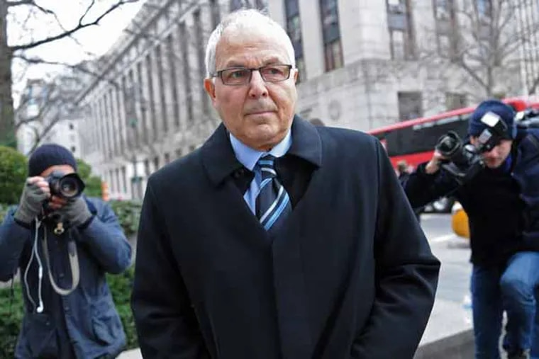 Peter Madoff arrirves at Manhattan federal court for his sentencing, Thursday, Dec. 20, 2012, in New York. Madoff, the former senior compliance officer at the Madoff private investment business and brother of Ponzi king Bernard Madoff, pleaded guilty to conspiracy and falsifying books and records of an investment adviser in June. (AP Photo/ Louis Lanzano)