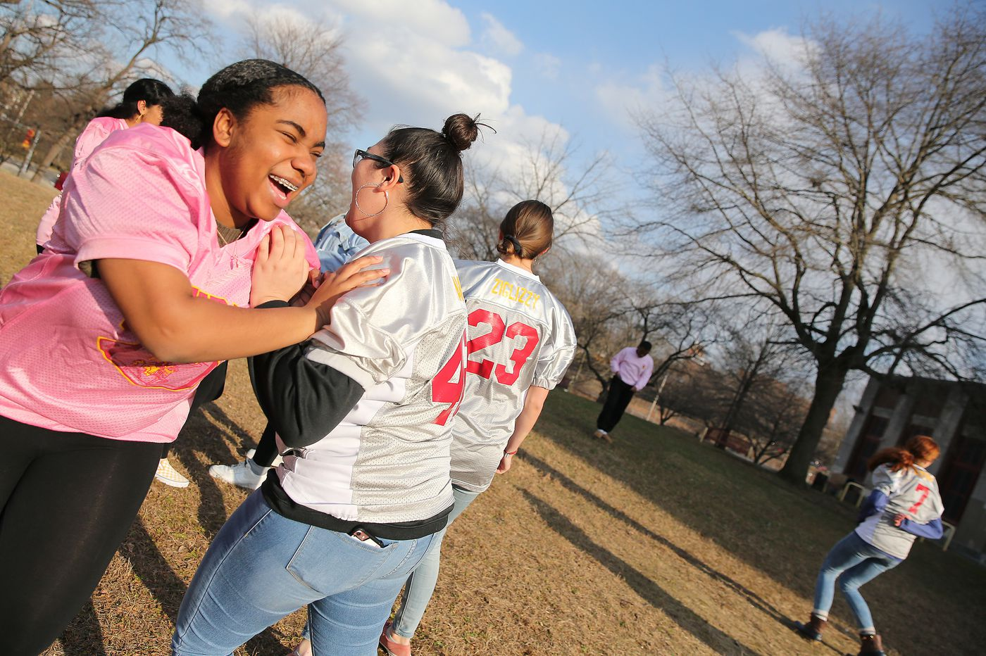 There's a new kind of Thanksgiving Day rivalry for two Philly schools: powderpuff football