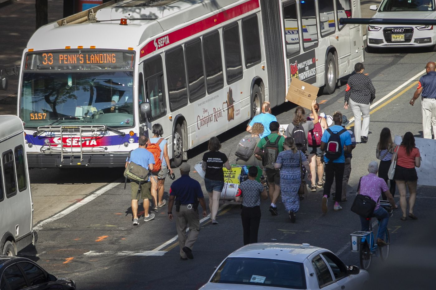 Anti-ICE protesters block traffic in Center City Philadelphia