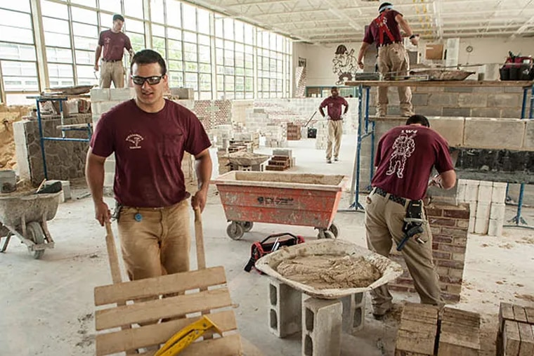 Masonry class at Williamson Free School of Mechanical Trades, soon to be Williamson College of the Trades.